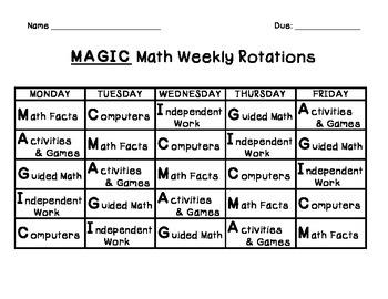 Guided Math Rotation Charts