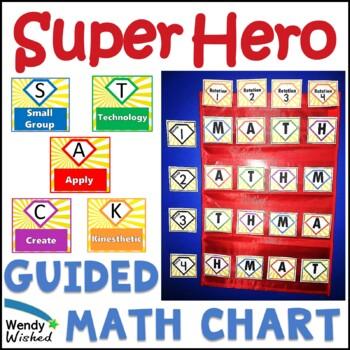 Guided Math Superhero Theme Rotation Board