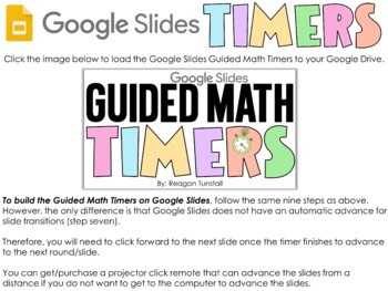 Guided Math Rotations with Timers Editable