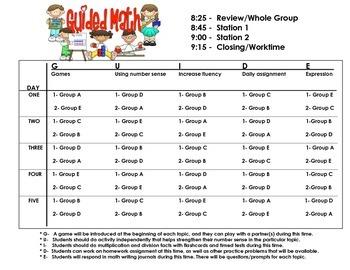 Guided Math Schedule