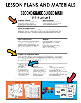 Guided Math Second Grade Unit 6 Geometry and Fractions