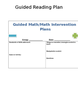 Guided Math Small Group Plan