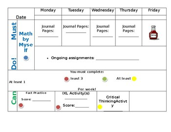 Guided Math Student Tracker