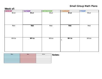 Guided Math Teaching Plans Template