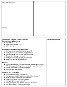 Guided Math Template