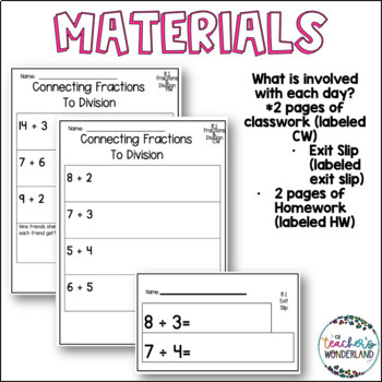 Fifth Grade *Guided Math* - Unit 8 Dividing Fractions