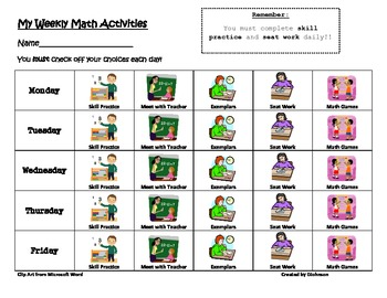 Guided Math Weekly Activity Chart Tracker