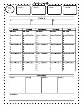 Guided Math Weekly Lesson Planning Template