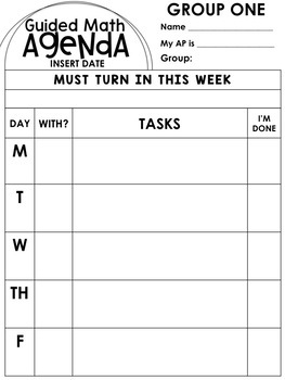 Guided Math Weekly Student Agenda {EDITABLE}