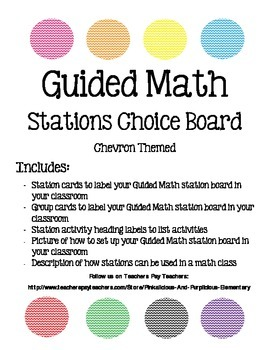 Guided Math Workshop Setup Labels Math Stations Chevron Themed
