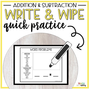 Guided Math Addition & Subtraction Write & Wipe