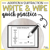 Guided Math Write & Wipe Addition & Subtraction