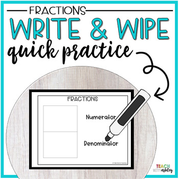 Guided Math Write & Wipe Fractions