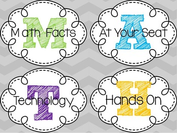 Guided Math or Math Station Labels-2 Styles!