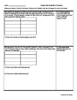 Guided Multi-Step Word Problems