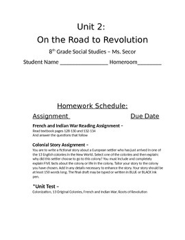 Guided Note Packet - Colonial Beginnings 7/8