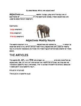 Guided Notes - Adjectives