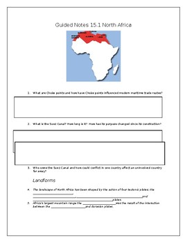 North Africa Guided Notes Chapter 15. Section 1