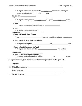 Guided Notes Close Reading the Constitution 7 Articles and Vocabulary