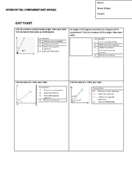 Guided Notes.Complementary Angles with Exit Ticket