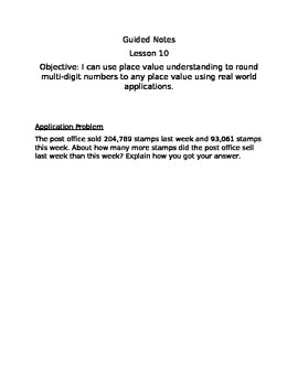 Guided Notes Engage NY Module 1 Lesson 10