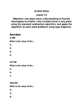 Guided Notes Engage NY Module 1 Lesson 15