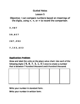 Guided Notes Engage NY Module 1 Lesson 5