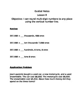 Guided Notes Engage NY Module 1 Lesson 8