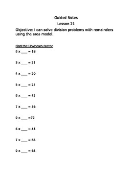 Guided Notes Engage NY Module 3 Lesson 21