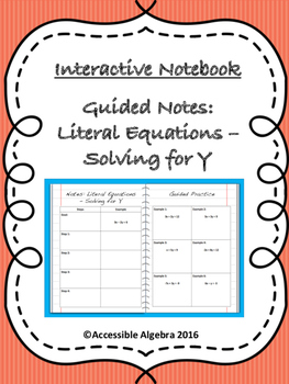 Guided Notes: Literal Equations - Solving for Y