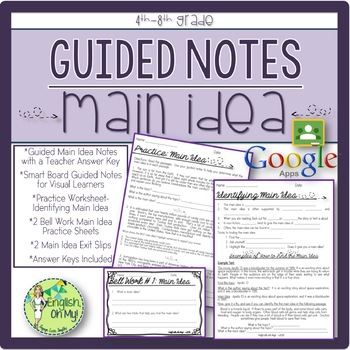 Main Idea, Guided Notes, Worksheets, Practice