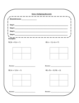 Guided Notes: Multiplying Binomials