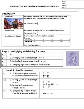 Guided Notes.Multiplying and Dividing Fractions