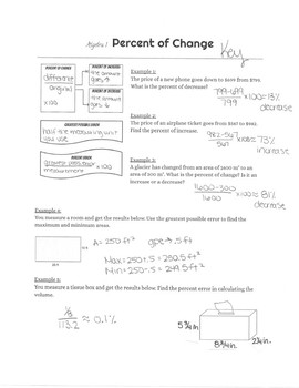Guided Notes- Percent of Change