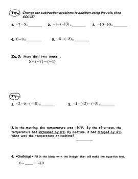 Guided Notes & Practice on Subtracting Integers