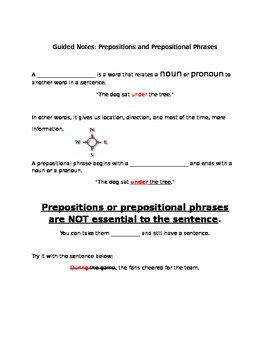 Guided Notes - Prepositions