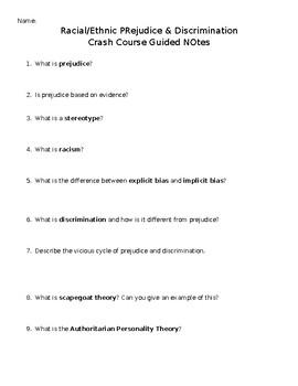Guided Notes Racial/Ethnic Prejudice & Discrimination Crash Course Sociology #3