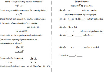 Guided Notes Repeating Decimals to Fractions