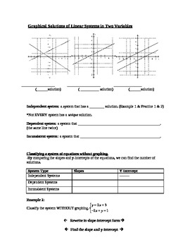 Guided Notes - Solving Systems of Equations by Graphing