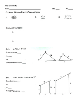 Guided Notes: Triangle Similarity