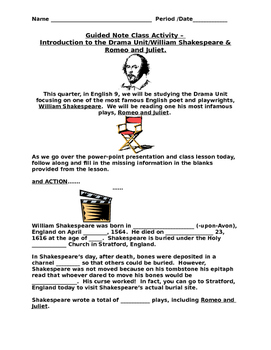 Guided Notes -  William Shakespeare / Drama Background for