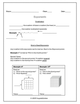 Math Guided Notes and Practice - Exponents (Common Core Aligned)