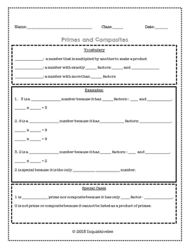 Math Guided Notes and Practice - Primes and Composites (Common Core Aligned)