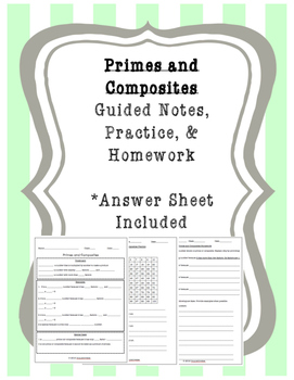 Math Guided Notes and Practice - Primes and Composites (Co
