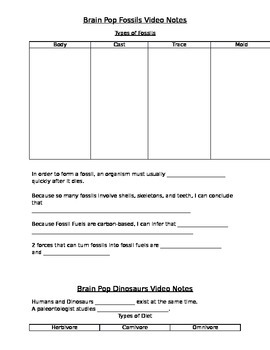 Guided Notes for Brainpop Fossils, Dinosaurs, Geologic Time and Ice Age