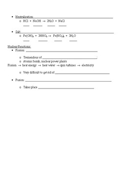 Guided Notes for Chemical Reactions Powerpoint
