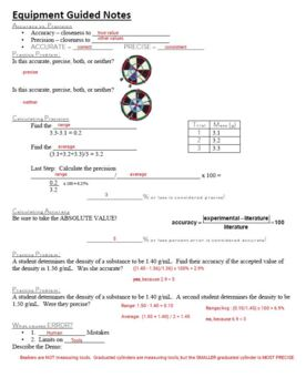 Guided Notes for Equipment Powerpoint for General Chemistry