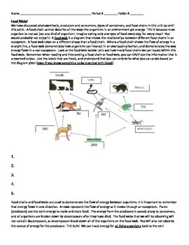 Guided Notes for Food Webs