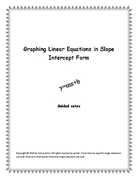 Guided Notes for Graphing Linear Equations in Slope Intercept Form