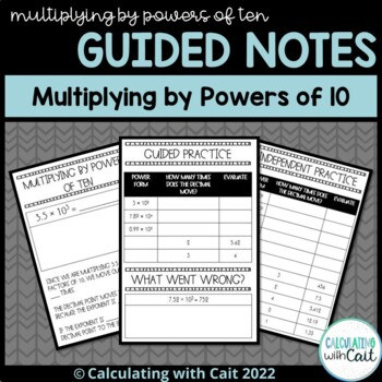 Guided Notes for Interactive Notebook - Multiplying by Powers of Ten (Exponents)